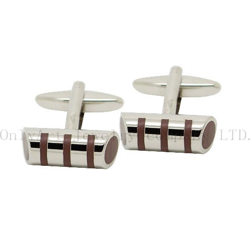 cheap silver plated with brown enamel brass cufflink
