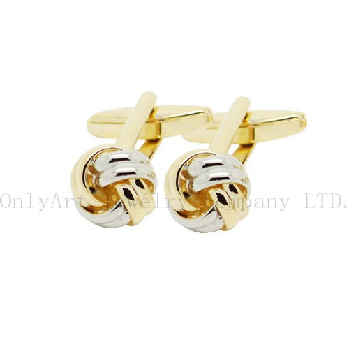 cheap two tone plated knot design brass cufflink
