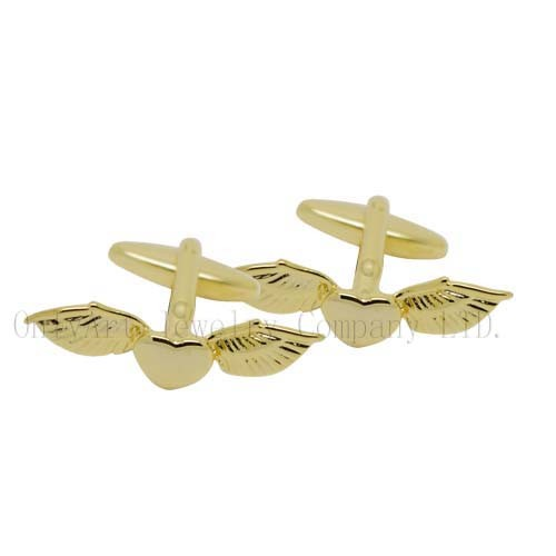 small order accepted heart fly brass cufflinks