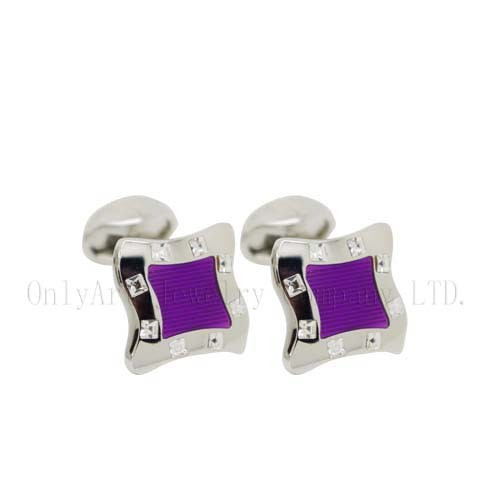 small order accepted cz and enamel brass cufflinks
