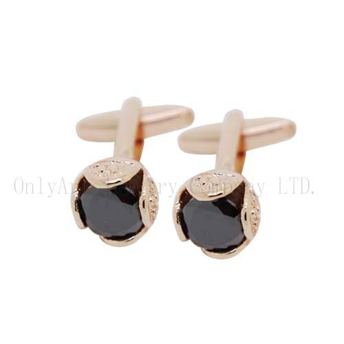 new flower design fow women,black stone inlaid brass cufflinks