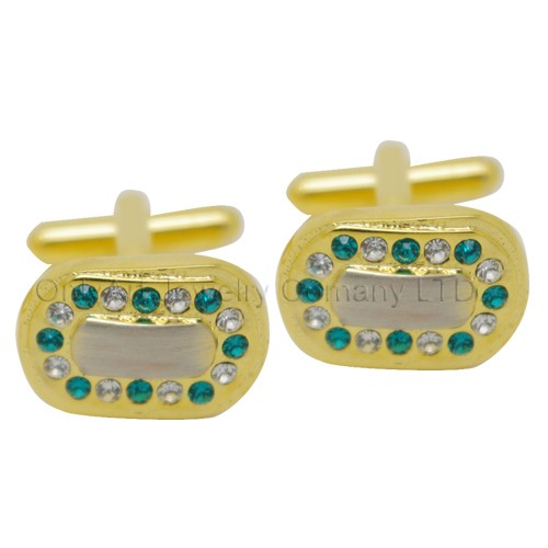 new design golden cufflinks with color stones paypal acceptable