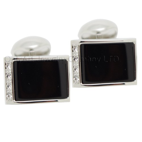 wholesale men cufflinks with big black stone paypal acceptable