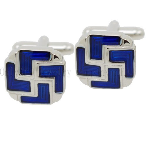 new and hot blue enamel cufflinks
