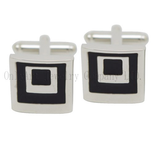 cheap and hot sales black flat enamel cufflinks jewelry