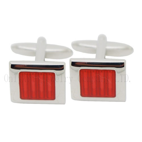hot sales red flat enamel cufflinks jewelry